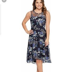 Tahari ASL Floral Appliqué A Line Dress